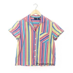 Erika Retro Striped Short Sleeve Button Up